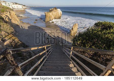 Stairs at El Matador State Beach in Malibu California.