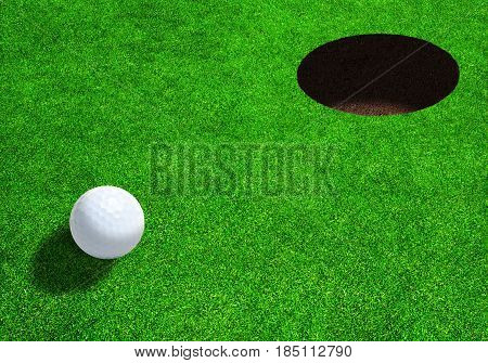 3D rendering of golf ball close to hole on beautiful golf greens ready for par eagle or bogey with copy space.