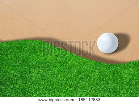 3D rendering of golf ball on sand trap bunkers with copy space.