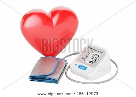 electronic sphygmomanometer with heart 3D rendering isolated on white background