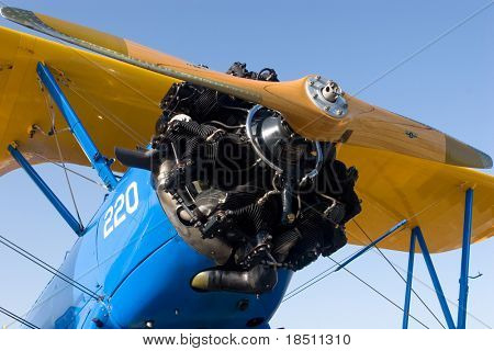 PALM COAST, FLORIDA - MARCH 27: A close-up of a bi-plane that is on display at the Wings Over Flagler Air Show at the Flagler County Airport on March 27, 2010 in Palm Coast, Florida.