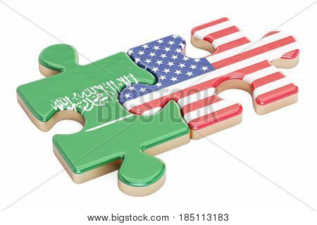 Saudi Arabia and USA puzzles from flags 3D rendering isolated on white background
