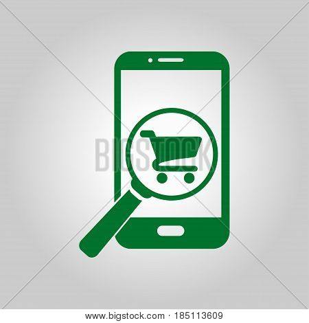 Glass searching for shoping on smart phone. Online shoping icon.