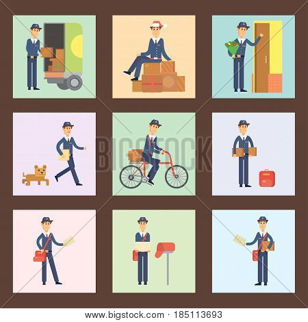 Set of cards with postman delivery man character vector courier occupation carrier cute male package transportation. Mail business shipping deliver cheerful professional people with envelope.