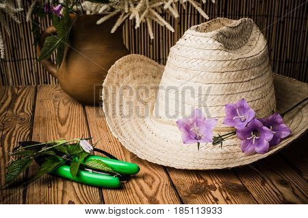 Straw hat and flowering campanula, close up