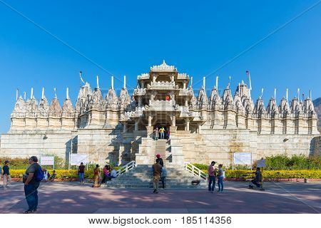 Ranakpur, India - February 2, 2017: Exterior Of The Majestic Jainist Temple At Ranakpur, Rajasthan,