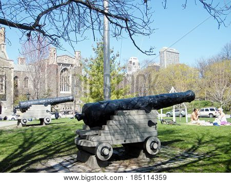 Toronto, Canada - April 14, 2010: The Historical Cannons at University of Toronto.
