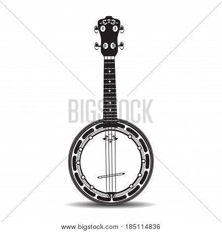 Vector illustration of banjo isolated on a white background. Black and white Banjo musical instrument in flat style.