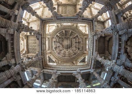 Ranakpur, India - February 2, 2017: Interior Of The Majestic Jainist Temple At Ranakpur, Rajasthan,
