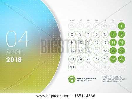 April 2018. Desk Calendar For 2018 Year. Vector Design Print Template With Place For Photo. Week Sta