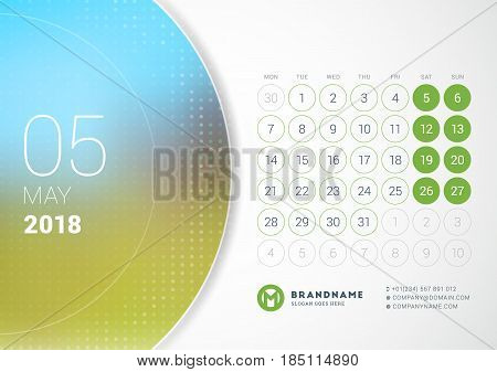 May 2018. Desk Calendar For 2018 Year. Vector Design Print Template With Place For Photo. Week Start