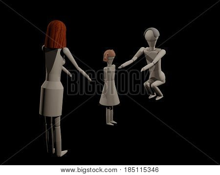 Parents can not share the common child in a separation (3D rendering with wooden dolls)