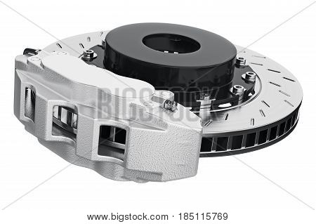 Brake car disk with metal shoe. 3D rendering