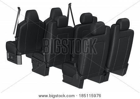 Car seat black modern safety. 3D rendering
