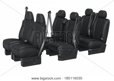 Car seat black leather with seatbelt. 3D rendering