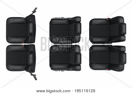 Car seat modern leather, top view. 3D rendering