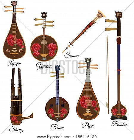 Vector set of chinese string and wind musical instruments with peony flowers in flat style. Pipa ruan suona banhu sheng liuqin and yueqin icons isolated on white background.