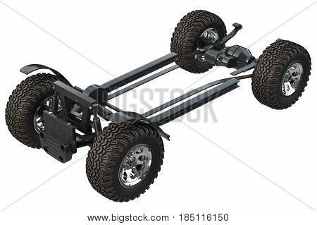 Golf car chassis frame with wheels. 3D rendering