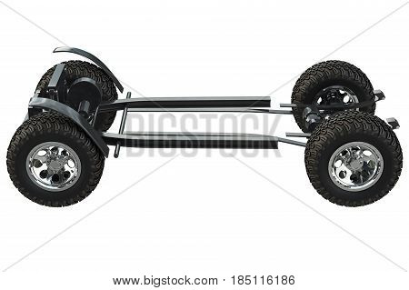 Golf car vehicle chassis with wheels. 3D rendering