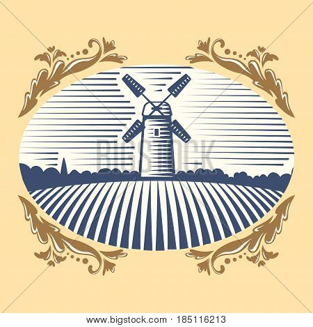 Retro landscape windmill vector illustration farm house agriculture graphic countryside. Grunge farmhouse outdoor road season scene horizon organic scenic antique drawing.