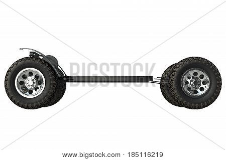 Golf car chassis with wheels, side view. 3D rendering