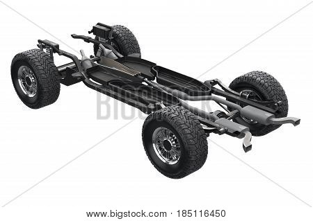 Chassis frame suspension bridge auto. 3D rendering