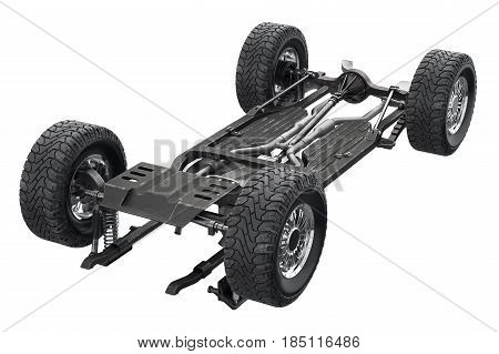 Chassis frame metal auto undercarriage. 3D rendering