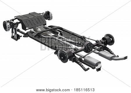 Chassis frame underbody with brake. 3D rendering
