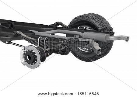 Chassis frame brake automobile bridge, close view. 3D rendering