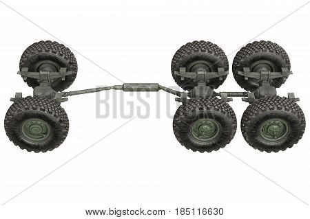 Truck military vehicle chassis with wheels. 3D rendering