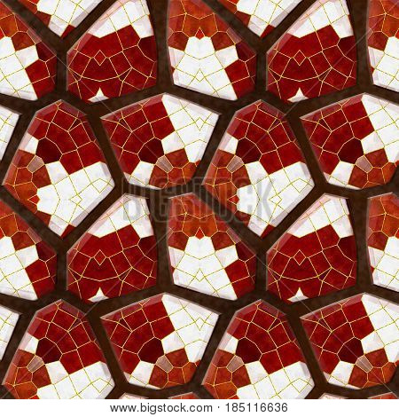 Abstract seamless relief floor mosaic pattern of red and white stones on a brown background. Background of tiled mosaic stones with red, white and gold pattern. 3d rendering