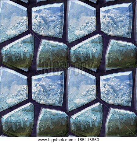 Seamless 3d pattern of polygonal blue stones with water drops