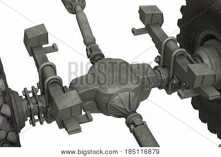 Truck military chassis undercarriage equipment, close view. 3D rendering