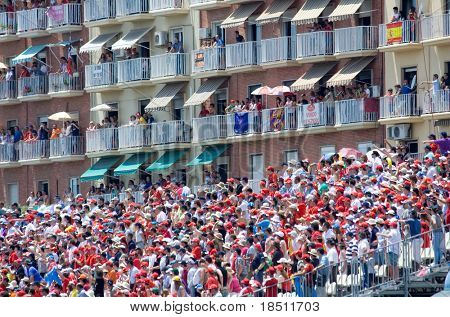 VALENCIA, SPAIN - JUNE 27: Fans watch the 3rd Edition of the Formula 1 racing Valencia Street Circuit Grand Prix of Europe 2010 on June 27, 2010 in Valencia Port, Spain.