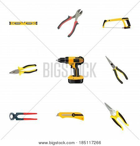 Realistic Plumb Ruler, Electric Screwdriver, Stationery Knife And Other Vector Elements. Set Of Kit Realistic Symbols Also Includes Pincers, Drill, Pliers Objects.