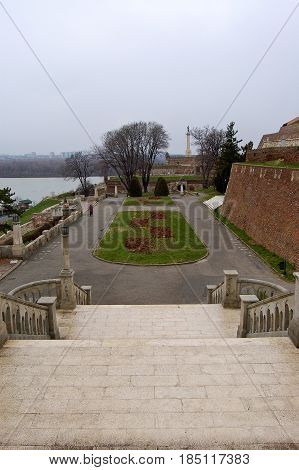 21 may 2009-belgrade-serbia- A beautiful garden near the ancient castle in the city of belgrade in serbia
