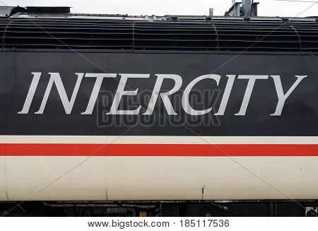 Reading, UK. 6th May 2017. The 'Swallow' livery of the InterCity 125 train appearing as a limited edition re-creation of this iconic 80's and 90's British Rail train.
