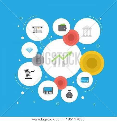 Flat Bank, Bar Diagram, Teller Machine And Other Vector Elements. Set Of Banking Flat Symbols Also Includes Credit, Building, Card Objects.