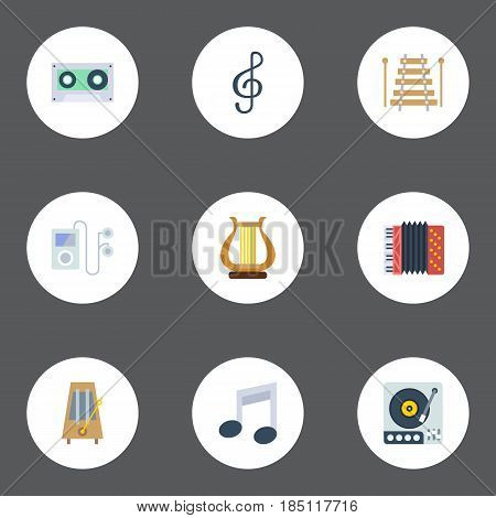 Flat Quaver, Tone Symbol, Harmonica And Other Vector Elements. Set Of Melody Flat Symbols Also Includes Lyre, Accordion, Instrument Objects.