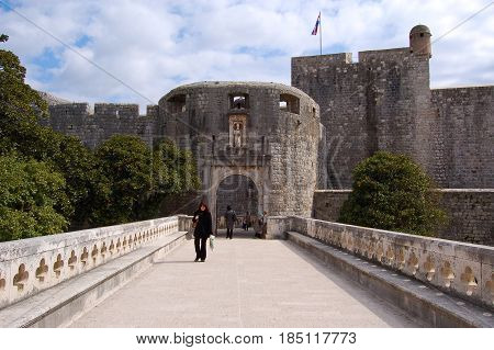 26 march 2009-Dubrovnick-croazia- Entry of dubrovnik fortress in croatia