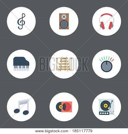 Flat Tone Symbol, Quaver, Retro Disc And Other Vector Elements. Set Of Melody Flat Symbols Also Includes Clef, Octave, Symbol Objects.