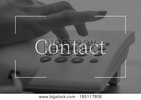 Contact Text Over Female Hand Dialing A Telephone Number