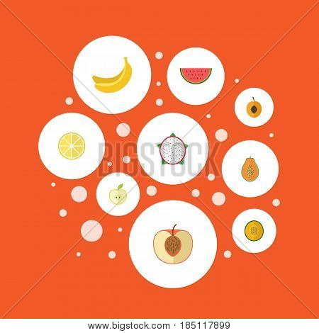 Flat Lime, Melon Slice, Jonagold And Other Vector Elements. Set Of Berry Flat Symbols Also Includes Slice, Pitaya, Apple Objects.