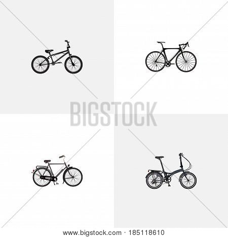 Realistic Folding Sport-Cycle, Extreme Biking, Training Vehicle And Other Vector Elements. Set Of Bike Realistic Symbols Also Includes Dutch, Folding, Extreme Objects.