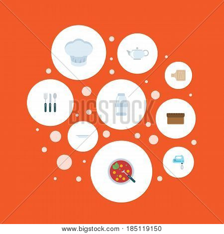 Flat Breadboard, Spice, Loaf And Other Vector Elements. Set Of Food Flat Symbols Also Includes Pot, Kettle, Bread Objects.