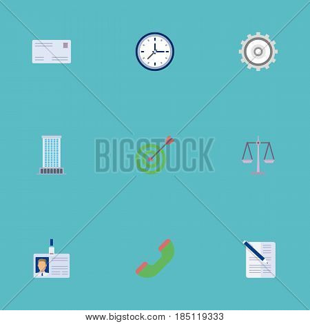 Flat Contract, Id Card, Clock And Other Vector Elements. Set Of Employment Flat Symbols Also Includes Contract, Envelope, Card Objects.