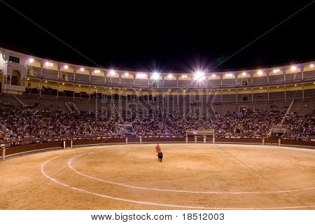 MADRID - AUGUST 8: The torero Juan Pablo Sanchez fights a bull named Caracolo in the Las Ventas bullring on August 8, 2010 in Madrid, Spain.
