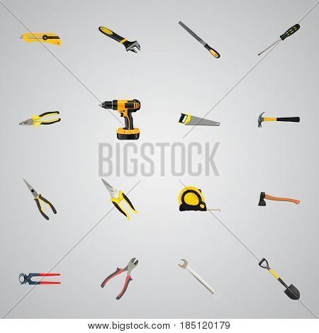Realistic Hacksaw, Nippers, Spade And Other Vector Elements. Set Of Kit Realistic Symbols Also Includes Cutter, Claw, Instrument Objects.