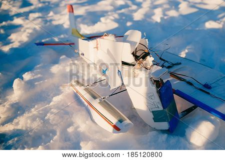 plane on the radio control is broken, a crash, an accident. Close-up.