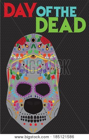A sugar skull vector illustration or the Mexican holiday Day of the Dead.